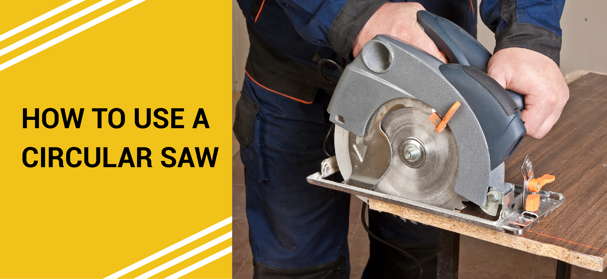 using a circular saw on a table